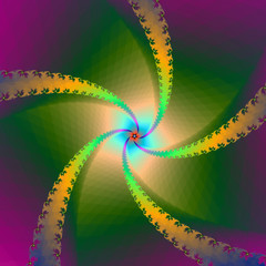 Fototapeten Illusion Spiral Star in Yellow and Green