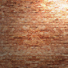 red brick wall texture background with spotlight