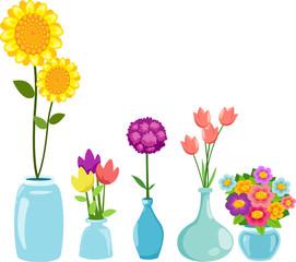 Set of flowers in vases