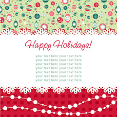 Decorative Christmas postcard on seamless background