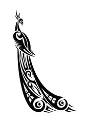 Peacock tribal tattoo - vector illustration