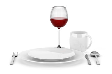 table setting with glass of red wine isolated on white
