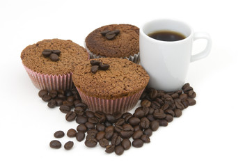 Coffee beans , muffin and coffee cup