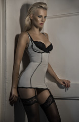 Sensual blonde girl in sexy lingerie