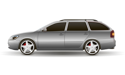 silvery vector car