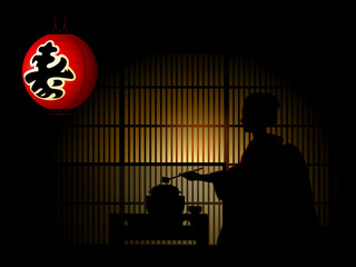Geisha silhouette doing tea ceremony