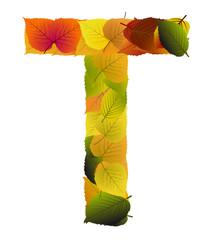 Buchstabe aus Blättern - T