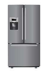 Domestic metallic refrigerator with bottom freezer