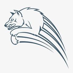Isolated wolf jump illustration