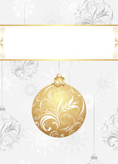 Ornamental Christmas ball on the background with snowflakes