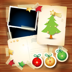 Christmas vintage background with postcards