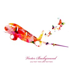 Colorful vector airplane with butterflies
