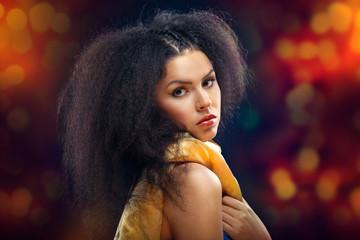 Beautiful Brunette Girl Portrait over Dark Background. Healthy B