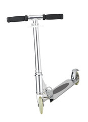 Silver scooter for children activity isolates