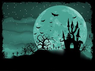 Halloween poster with zombie background. EPS 8