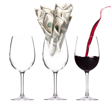 money Cocktail business concept present
