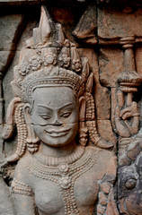 detail of stone carvings in angkor wat,cambodia.