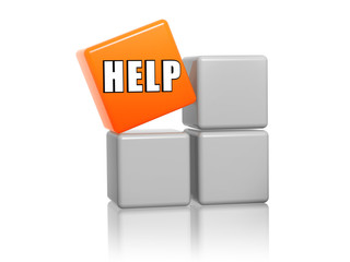 orange cube with text help on boxes