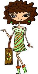 мультфильм  модная  девушка