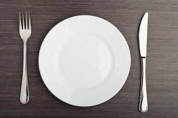 plate fork knife white empty