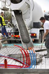 Cement mixer in action