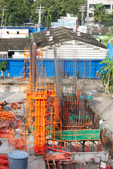 building cement pillar in construct site