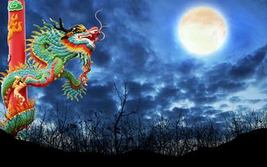 dragon on full moon background