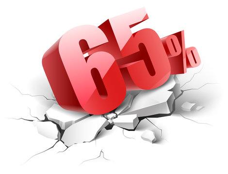 65 percent discount icon