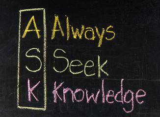 Acronym of ASK - Always seek knowledge