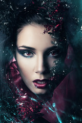 woman in hood with gemstones