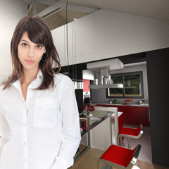 Young woman in open kitchen