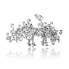 Horse sketch with floral ornament for your design