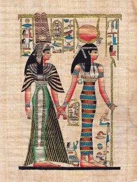 Scene from egyptian mythology painted on papyrus