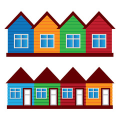 Vector houses, colored painted houses,