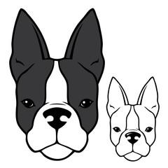 French bulldog head - vector illustration