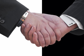 Business deal with black and white background