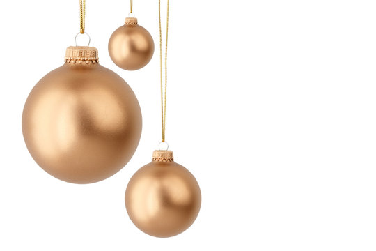 gold Christmas balls isolated on white
