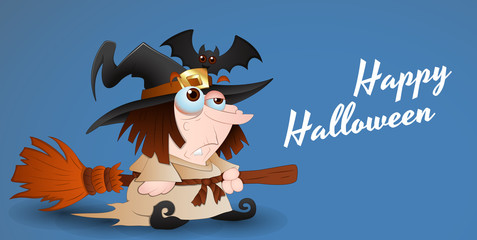 Witch with Broomstick - Halloween Vector Graphic