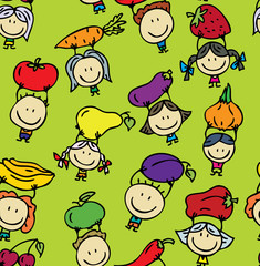 Seamless background of happy kids with fruits and vegetables