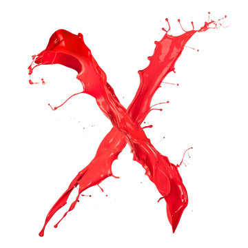 "Red paint splash letter ""X"" isolated on white background"