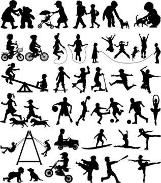 Children vector silhouette