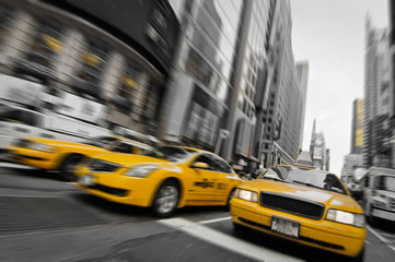 Fototapeten New York TAXI Taxis couleur sélective - New York, USA