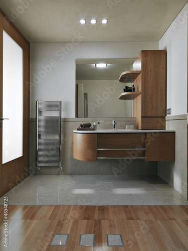 Bagno Moderno Con Parquet.Bagno Moderno Con Parquet Stock Photo And Royalty Free