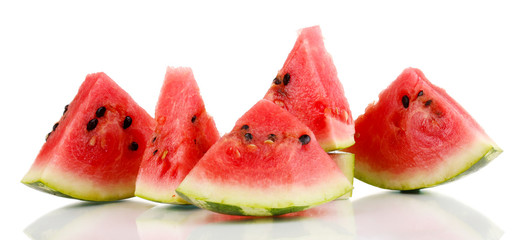 Sweet watermelon slices isolated on white
