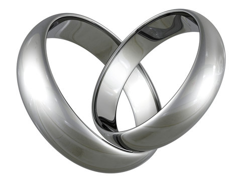 Platinum or silver wedding rings in heart shape
