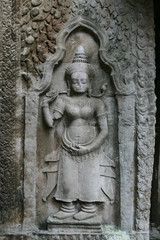 Beautiful bas relief at a temple in Angkor in Cambodia
