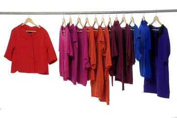 Set of Fashion clothing hanging on hangers