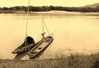 wooden boat on Mekong river
