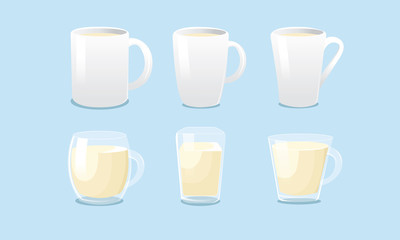 White mugs and glass mugs vector