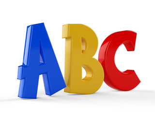 3D colorful symbols heap of alphabet...Education concept